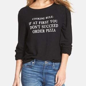 WILDFOX Cooking Rule Order Pizza Black Pullover XS